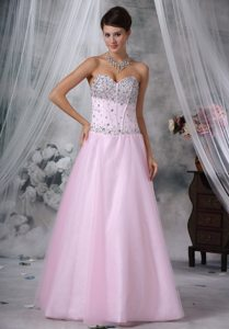 Sweetheart Baby Pink Prom Evening Dresses with Rhinestones