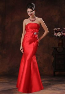 Beading Accent Red Strapless Floor Length Prom Party Dress 2014