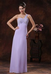 Beaded One Shoulder Ruches Prom formal Dresses of Floor Length