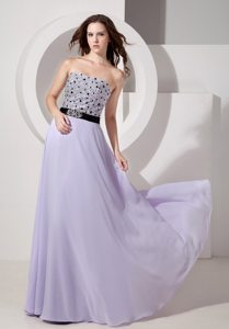 Empire Strapless Lilac Beaded Prom Dress for Girls Floor-length