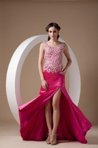 Scoop Neck Brush Train Fuchsia Appliqued Dress for Prom