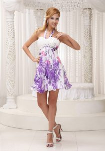 Printed and Ruched White Halter Prom formal Dress of Mini Length