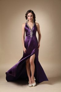 Eggplant Purple Halter Prom Pageant Dress with High Slit Beading