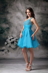 Baby Blue One Shoulder Organza Prom Pageant Dresses with Beading
