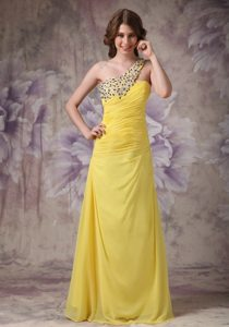 Beading Yellow One Shoulder Prom Dama Dresses for Quinceanera Dress