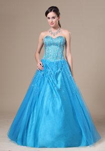 Baby Blue A-line Sweetheart Prom Homecoming Dress with Beading