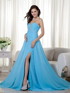 Beading Ruches High Slit Brush Train Prom Dresses in Baby Blue