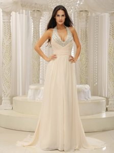 Champagne Halter Prom Homecoming Dress with Beading Brush Train