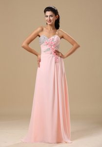 Beading Flowers Sweetheart Prom Homecoming Dress in Light Pink