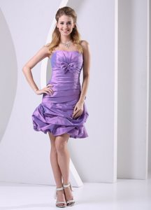 Ruched Lavender Taffeta Prom Celebrity Dress with Pick ups 2014