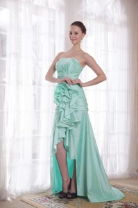 Ruches and Flowers Accent High-low Prom Celebrity Dress in Apple Green