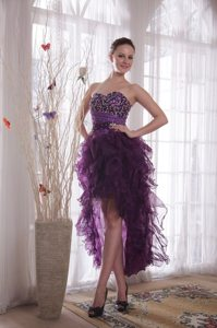 Sweetheart Purple High-low Prom Celebrity Dress with Beading Ruffles
