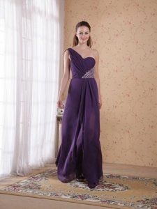 Plus Size One Shoulder Beaded Purple Prom Celebrity Dress