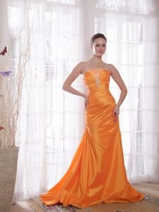 Brand New Column Lace-Up Beaded Orange Strapless Prom Dress
