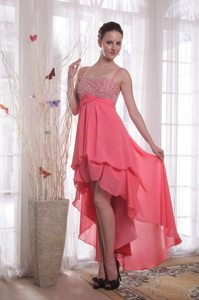 Beaded Watermelon Prom Celebrity Dresses with Spaghetti Straps