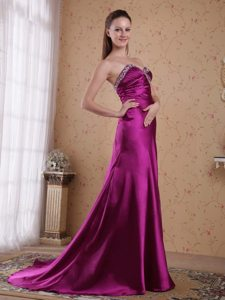Beaded and Ruched Fuchsia Prom Celebrity Dress with Brush Train