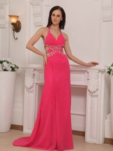Halter Beaded Long Hot Pink Prom Dress with Cutouts On Waist