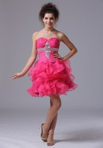 Ruffled Layers and Beading Accent Prom Graduation Dress in Hot Pink
