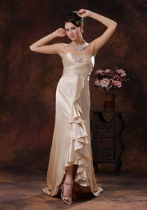 Ruffled and Ruched Champagne Prom Holiday Dress with Brush Train