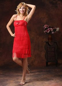 Beading Tassels Red Prom Holiday Dresses with Spaghetti Straps