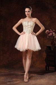 Beaded Bodice Peach Mini Length Organza Prom Holiday Dress 2014