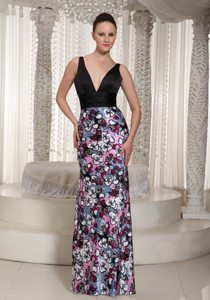 Black V-neck Column Prom Holiday Dress with Colorful Print 2014