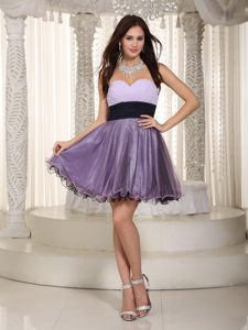 Ruches and Sash Accent Lilac Mini Length Prom Evening Dresses