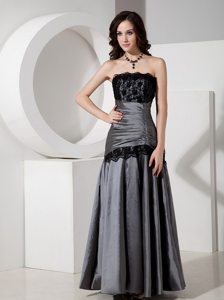 Gray Floor Length Prom Evening Dress with Lace and Beading Accent