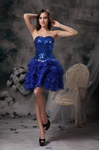 Sequined Bodice Ruffled Layers Prom Evening Dress in Royal Blue
