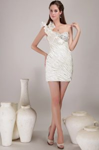 Flouncing One Shoulder White Prom Evening Dress with Beading Ruches