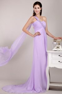 Beaded One Shoulder Lilac Prom Evening Dress with the Back Cut Out