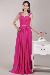 Beading and Ruches Accent Empire Chiffon Prom Gown Dress in Fuchsia