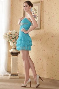 Ruched Teal Mini Prom Gown Dress with Beading and Ruffled Layers