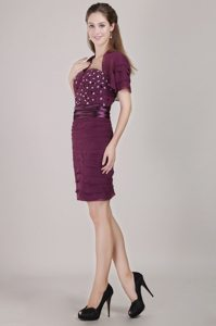 Burgundy Column Strapless Prom Gown Dresses with Beading Ruches