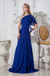 Royal Blue A-line One Shoulder Prom Gown Dress with Brush Train