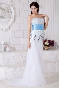 White Organza Brush Train Prom Pageant Dress with Beading and Belt