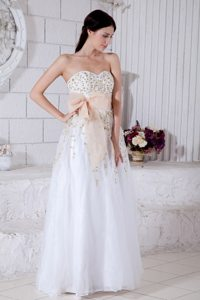 Sash and Beading Accent White Floor-length Prom Pageant Dresses