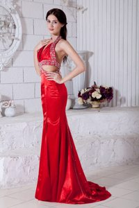 New Beaded Halter Top Prom Evening Dress Sweep Train with Cutout Waist