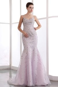 Beaded Straps Pink Mermaid Brush Prom Pageant Dress in Burbank CA