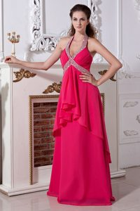 Hot Pink Empire Halter Beaded Prom Pageant Dress in Burbank CA