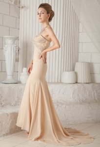 Beading and Lace Accent Champagne Brush Train Prom Celebrity Dress