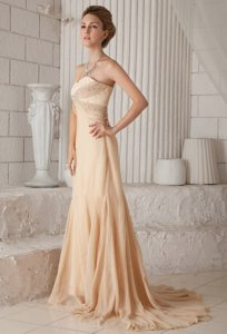 Beaded Champagne Chiffon Prom Celebrity Dress with Brush Train