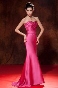 Carlsbad CA Ruched Brush Train Prom Celebrity Dress in Hot Pink