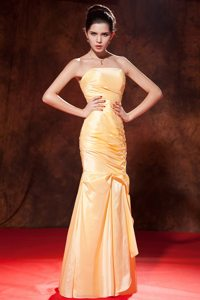 Canoga Park CA Gold Mermaid Ruched Long Prom Celebrity Dress