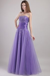 2013 Beading Strapless Prom Gown Dress in Tulle with Ruches Lace up Back
