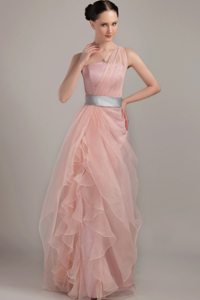 Organza One Shoulder Lace-up Prom Holiday Dress with Sash Floor-length