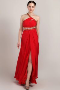 Fitted Beaded One Shoulder Prom Homecoming Dress High Slit Floor-length