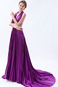 Eggplant Purple Halter Court Train Prom Celebrity Dress with Beading