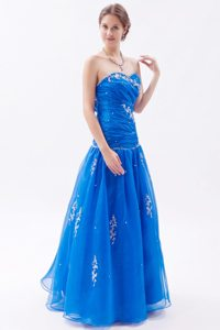 Appliqued and Ruched Blue Prom Celebrity Dress in Campbell CA