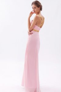 Beaded and Ruched Pink Prom Graduation Dresses with Criss Cross